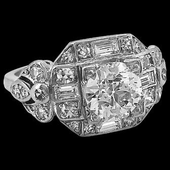 Antique Engagement Ring 1.22ct. Diamond & Platinum Art Deco - J37030