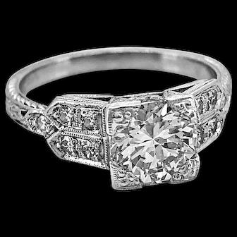 .98ct. Diamond & Platinum Antique Engagement Ring Art Deco - J37031