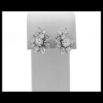 Platinum Vintage Earrings 6.83ct. T.W. Diamond Cluster White Gold - J37040
