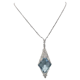 Edwardian 10.00ct. Aquamarine & Diamond Antique Necklace Platinum Birks - J37049