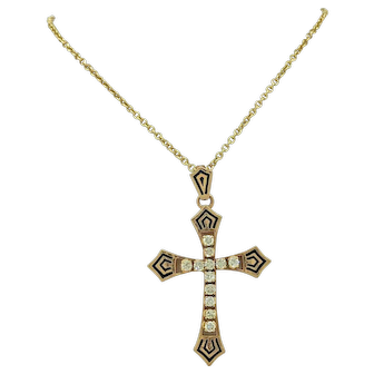 .50ct. apx. T.W. Diamond and Black Enamel Vintage Cross Necklace Yellow Gold - J37106