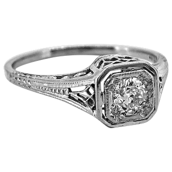 Art Deco .33ct. Diamond Antique Engagement Ring 18K White Gold - J37109