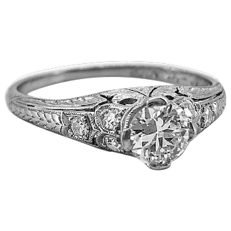 Edwardian .50ct. Diamond Antique Engagement Ring Platinum - J37110