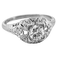 Edwardian Antique Engagement Ring .35ct. Diamond Platinum - J37113