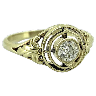 Arts & Crafts .25ct. Diamond Antique Engagement - Fashion Ring Yellow Gold - J37128