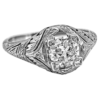 Edwardian .55ct. Diamond Antique Engagement Ring 18K White Gold - J37129