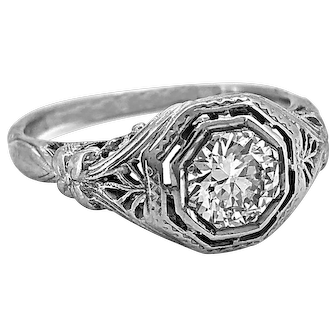 Edwardian .70ct. Diamond Antique Engagement Ring 18K White Gold - J37130