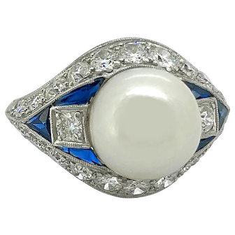 Art Deco 10.1mm Akoya Pearl, 2.25ct. T.W. Diamond and .75ct. T.W. Sapphire Antique Engagement - Fashion Ring Platinum - J37133
