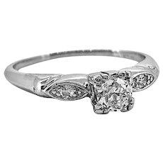 Art Deco .33ct. Diamond Antique Engagement Ring Platinum - J37138