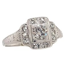 Art Deco .33ct. Diamond Antique Engagement - Fashion Ring 18K White Gold - J37139