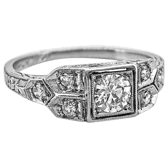 Art Deco .33ct. Diamond Antique Engagement Ring Platinum - J37142