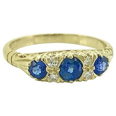Late Victorian .63ct. T.W. Sapphire & Diamond Antique Engagement Ring - Wedding Band 18K Yellow Gold - J37185