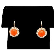 Edwardian Coral and Diamond Leverback Antique Earrings 18K Yellow Gold - J37249