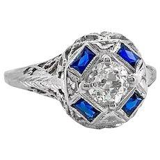 Edwardian .38ct. Diamond and Sapphire Antique Engagement - Fashion Ring 18K White Gold - J37253