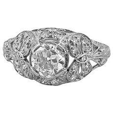 Edwardian .60ct. Diamond Antique Engagement Ring Platinum - J37314