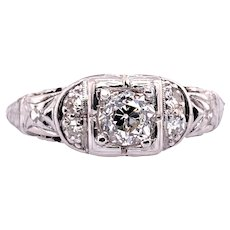 Art Deco .33ct. Diamond Antique Engagement - Fashion Ring Platinum - J37316