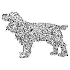 "Platinum Edwardian 2.00ct. T.W. Diamond ""Dog"" Antique Pin/Brooch - J37322"