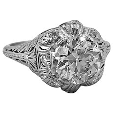 Platinum Edwardian 1.58ct. Diamond Antique Engagement Ring - J37325
