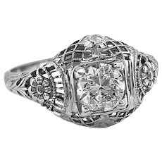 Edwardian .75ct. Diamond Antique Engagement Ring 18K White Gold - J37331