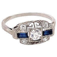 Art Deco .20ct. Diamond & Sapphire Antique Engagement - Fashion Ring Platinum - J37402