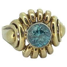 2.00ct. Blue Zircon Vintage Fashion Ring Yellow Gold - J37429