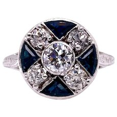 Art Deco .43ct. Diamond & Sapphire Engagement or Fashion Ring Platinum - J37480