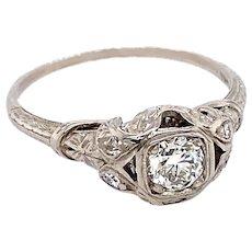 Art Deco .33ct. Diamond Antique Engagement - Fashion Ring Platinum - J37502