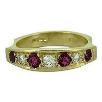 18K Yellow Gold .20ct. T.W. Diamond & .50ct. T.W. Ruby Vintage Anniversary - Wedding Band - J37529