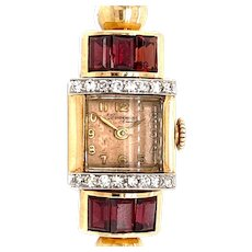 Retro 2.50ct. Garnet & Diamond Vintage Watch Yellow Gold - J37549
