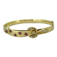 Edwardian .50ct. T.W. Ruby and Seed Pearl Antique Bracelet Yellow Gold - J37553