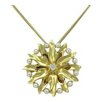 Edwardian Pearl and .08ct. Diamond Antique Necklace - Brooch Yellow Gold - J37557