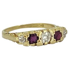 Vintage .35ct. T.W. Diamond & .33ct. T.W. Ruby Wedding Band - Fashion Ring 18K Yellow Gold - J37565