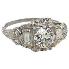 Art Deco .87ct. Diamond & Platinum Antique Engagement - Fashion Ring - J37583