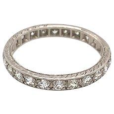 Art Deco 1.15ct. T.W. Diamond & Platinum Antique Eternity - Wedding Band - J37585