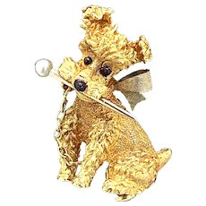 Vintage Pearl Puppy Pin 18K Yellow Gold - J37587