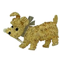 Onyx, Pearl & 18K Yellow Gold Puppy Dog Vintage Pin - J37558