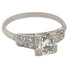 Art Deco .65ct. Diamond Antique Engagement Ring 18K White Gold - J37606