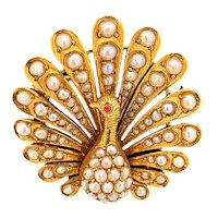 Art Deco Diamond, Seed Pearl and Ruby Peacock Antique Pin 18K Yellow Gold - J37620