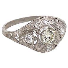 Art Deco .40ct. Diamond & Platinum Antique Engagement - Fashion Ring - J37637