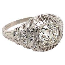Art Deco .91ct. Diamond Antique Engagement - Fashion Ring Platinum - GIA Certificate - J37658