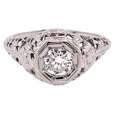 Edwardian .35ct. Diamond Antique Engagement - Fashion Ring 18K White Gold - J37685
