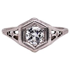 Edwardian .40ct. Diamond Antique Engagement - Fashion Ring Platinum - J37691