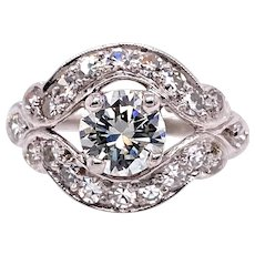 Art Deco .66ct. Diamond & Platinum Antique Engagement - Fashion Ring - J37697