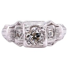 Art Deco .45ct. Diamond & Platinum Antique Engagement - Fashion Ring - J37698