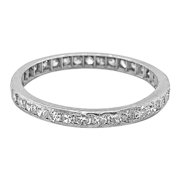 Art Deco .70ct. T.W. Diamond & Platinum Antique Eternity - Wedding Band - J37706