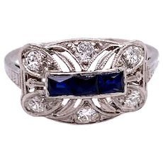 Art Deco .50ct. T.W. Sapphire & Diamond Antique Engagement - Fashion Ring Platinum - J37714