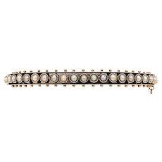 Late Victorian Seed Pearl Antique Bangle Bracelet Rose Gold - J37718