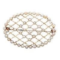 Late Victorian - Edwardian Seed Pearl Brooch Yellow Gold - J37724