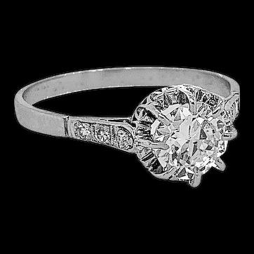 Edwardian .90ct. Diamond Antique Engagement Ring Platinum - J37728