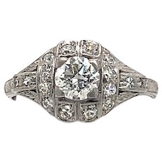 Art Deco .55ct. Diamond Antique Engagement - Fashion Ring Platinum - J3774